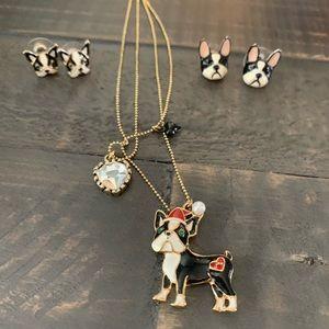 Betsey Johnson Boston terrier necklace & earrings